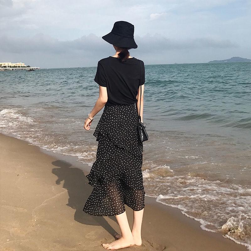Chân Váy Voan Hoa Văn Chấm Bi Phong Cách Retro Thời Trang