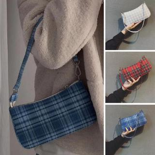 Women's Korean Style Plaid Axillary Canvas Shoulder Bag(With double shoulder straps)