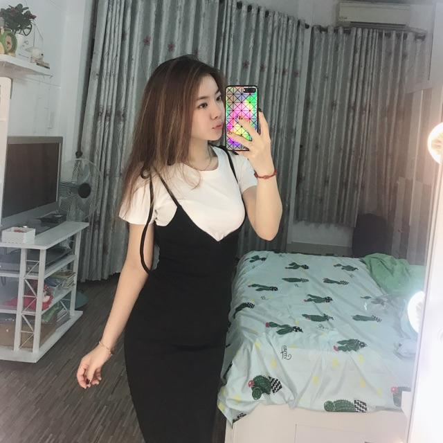 Set áo thun + váy yếm