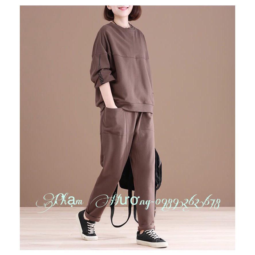 Sét quần áo thun nữ tay dài