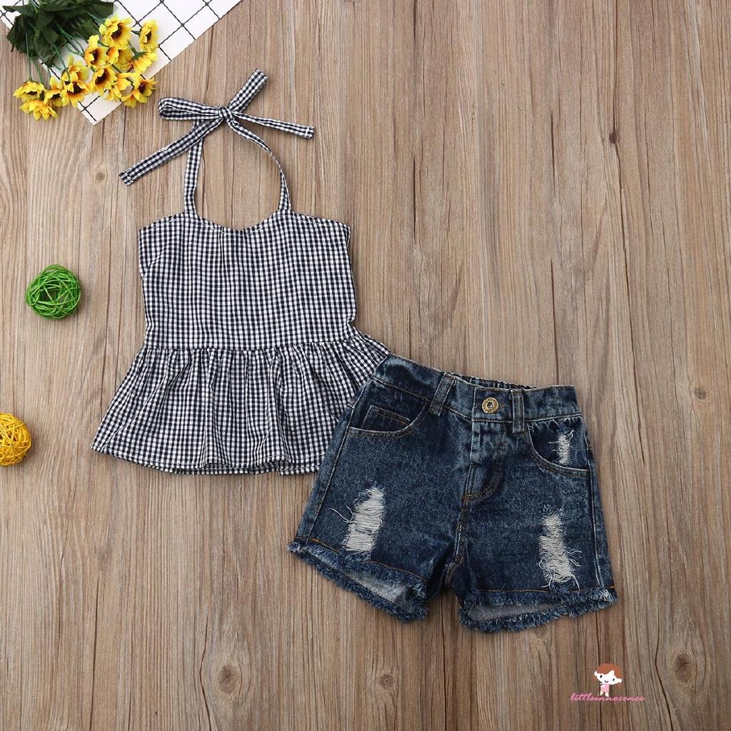 Bộ áo hai dây + chân váy denim phong cách mùa hè cho bé gái