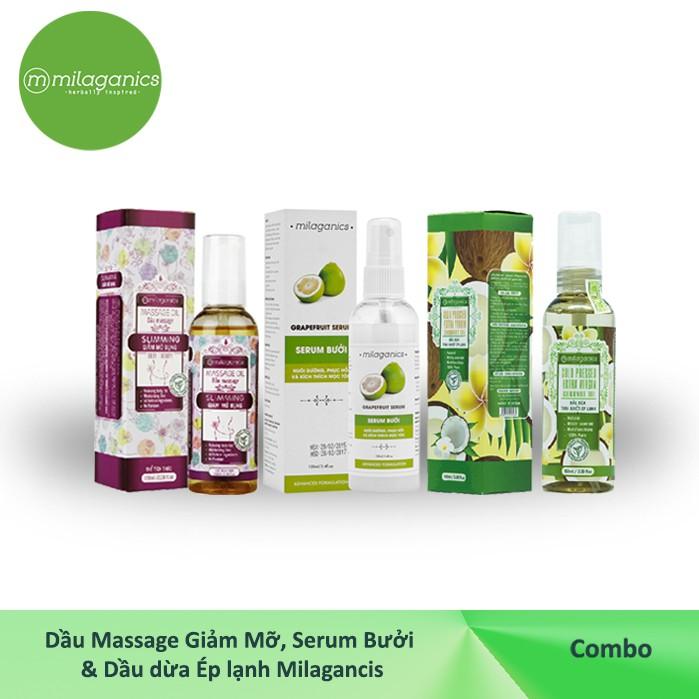 Combo Dầu Massage giảm mỡ 100ml+ Serum Bưởi 100ml + Dầu dừa Ép lạnh 100ml MILAGANICS