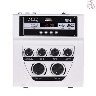 Muslady MF-8 Mini Karaoke Sound Audio Mixer Stereo Echo Mixers Dual Microphone Inputs Support BT Recording MP3 Functio