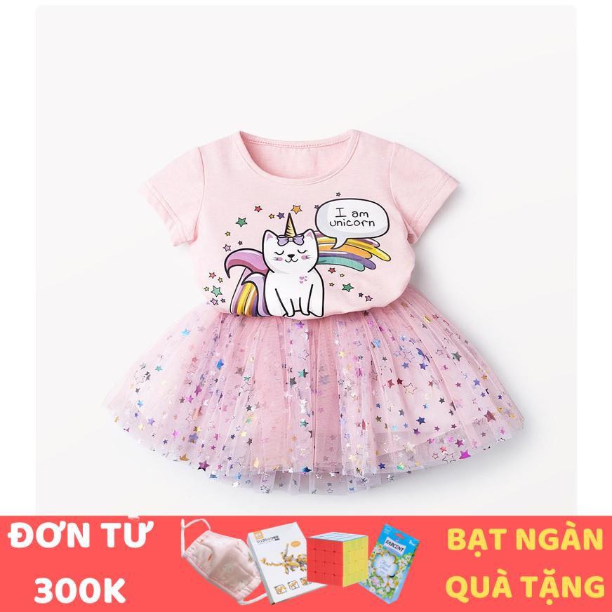 [QUÀ 1/6 CHO BÉ] Bộ đồ bé gái áo thun hình unicorn, chân váy ngôi sao TE2187