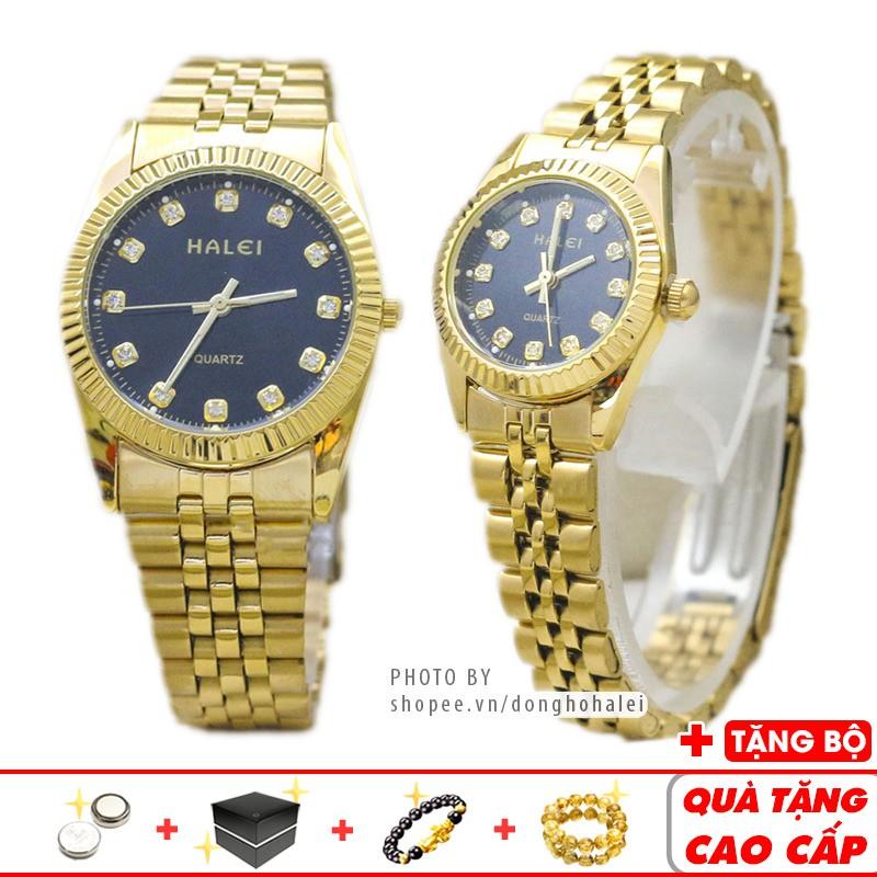 Đồng hồ cặp đôi Halei 9999 chính hãng Gold Platinum dây vàng cao cấp chống nước - Đồng Hồ Halei