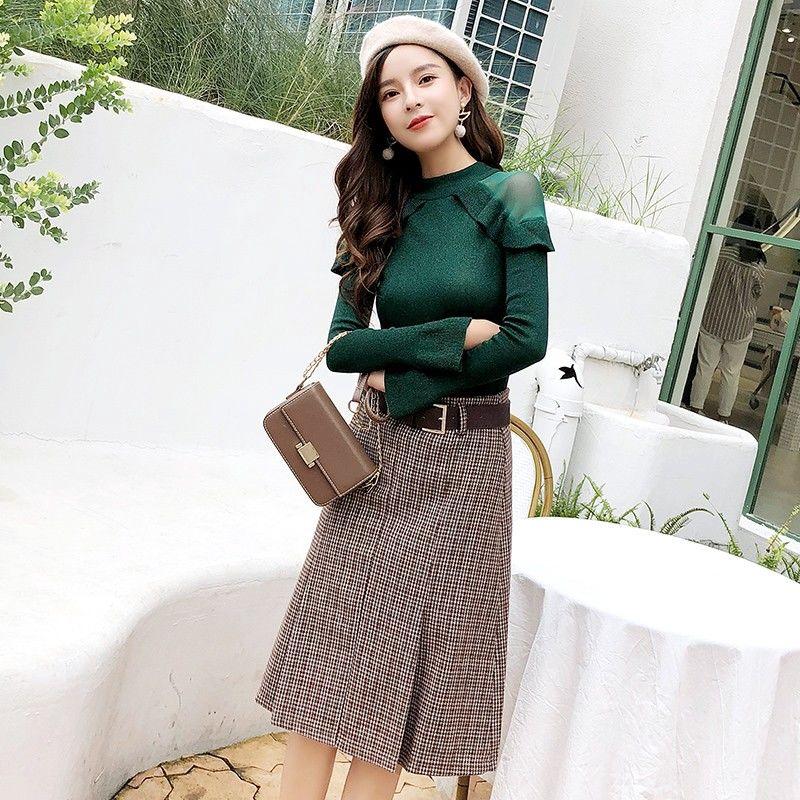 Bộ Áo Sweater + Chân Váy Ca Rô Xinh Xắn Dành Cho Nữ 2019