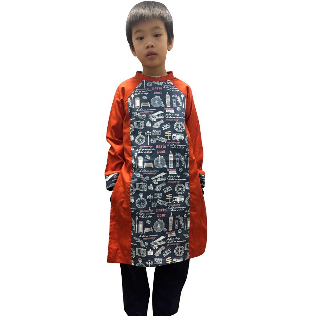 Áo dài cách tân trẻ em thương hiệu HaleeKidz, dành cho bé trai (vải Hàn Quốc) của Hồng Hạnh