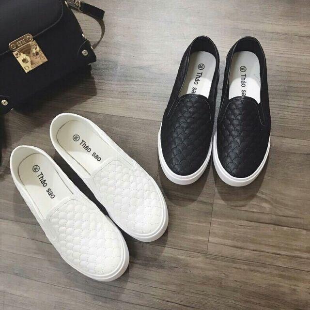 Giày lười trần chỉ đen,trắng
