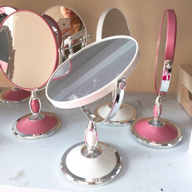 ( hàng loại 1) gương soi trang điểm 360 độ viền inox sang trọng