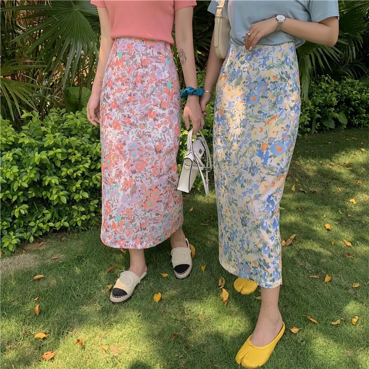 Chân Váy Dài Lưng Cao Họa Tiết Hoa Xinh Xắn Phong Cách Hàn Quốc