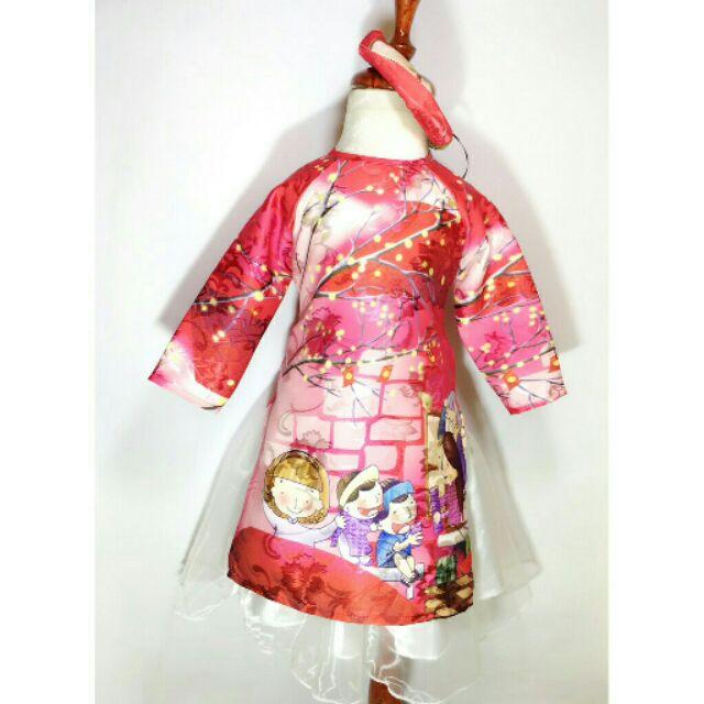 Hàng xịn đẹp áo dài cách tân cho bé tặng mấn