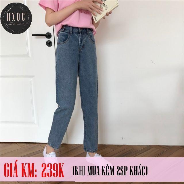 [Hàng có sẵn]Quần bò, quần jeans baggy lưng cao Ulzzang Quảng Châu QD4HH (Mom Jeans)