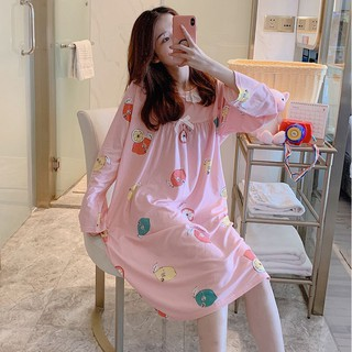 Spring Autumn Sweet Printed Nightdress Long Sleeve Bow Nightdress