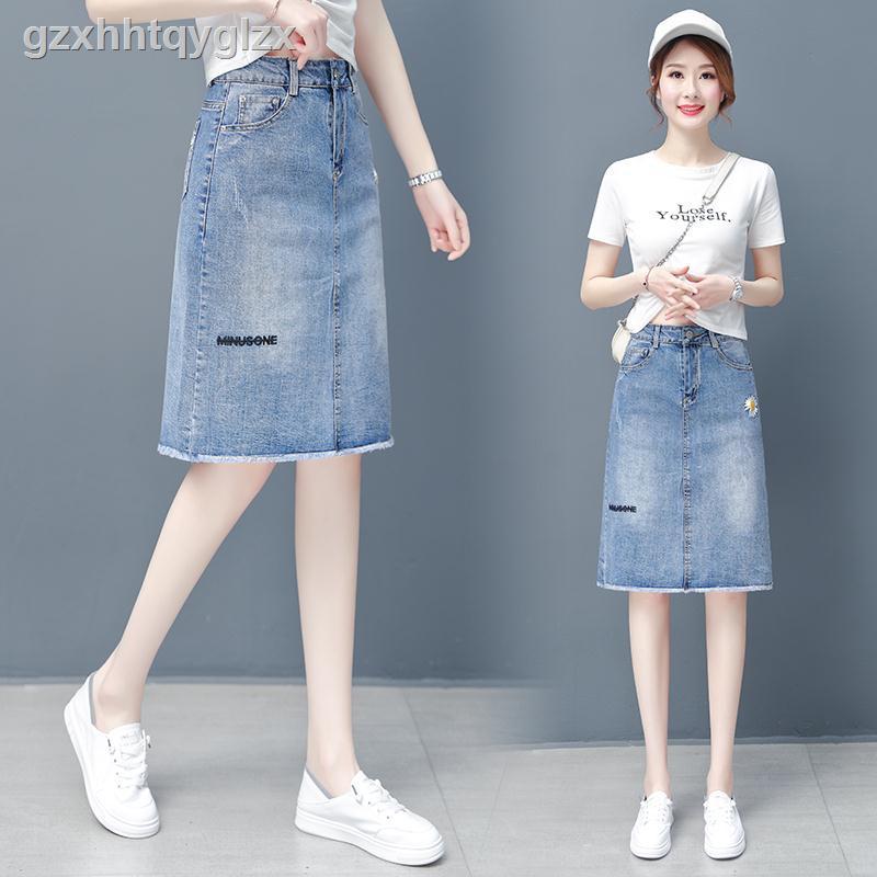 Chân Váy Denim Chữ A Lưng Cao Xinh Xắn Dành Cho Nữ 2020 145