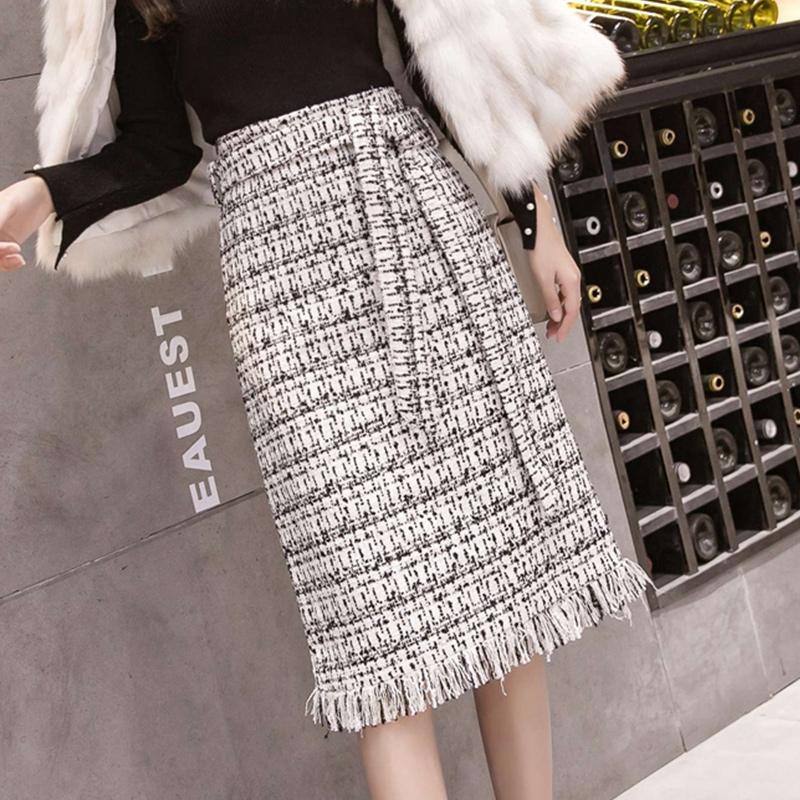 Chân váy len thiết kế xinh xắn thời trang mùa thu đông theo phong cách retro cho nữ