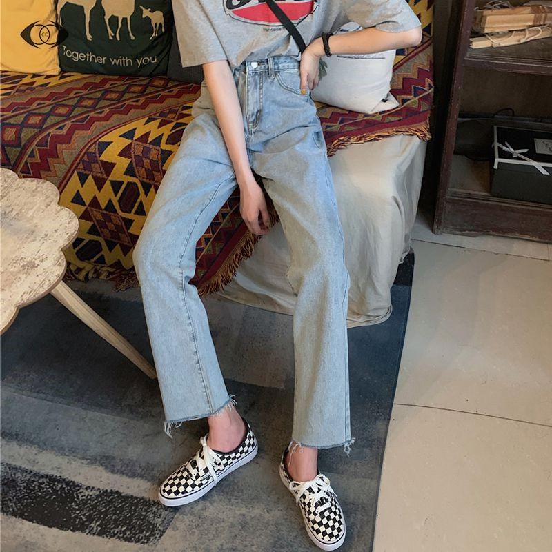 Quần Jean eo cao thiết kế trẻ trung hợp thời trang cho bạn gái