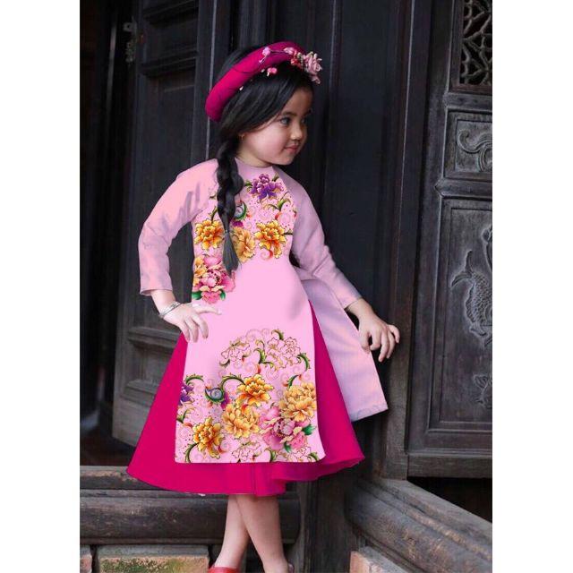 Combo 4 bộ áo dài cách tân cho bé gái của bạn Thaochu91