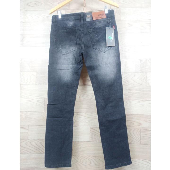 Quần jean nam dài màu đen xám xước gối, cào nhẹ - Thời trang nam phong cách