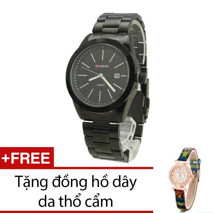 Đồng hồ nam Curren dây kim loại đen tặng kèm 1 đồng hồ thổ cẩm