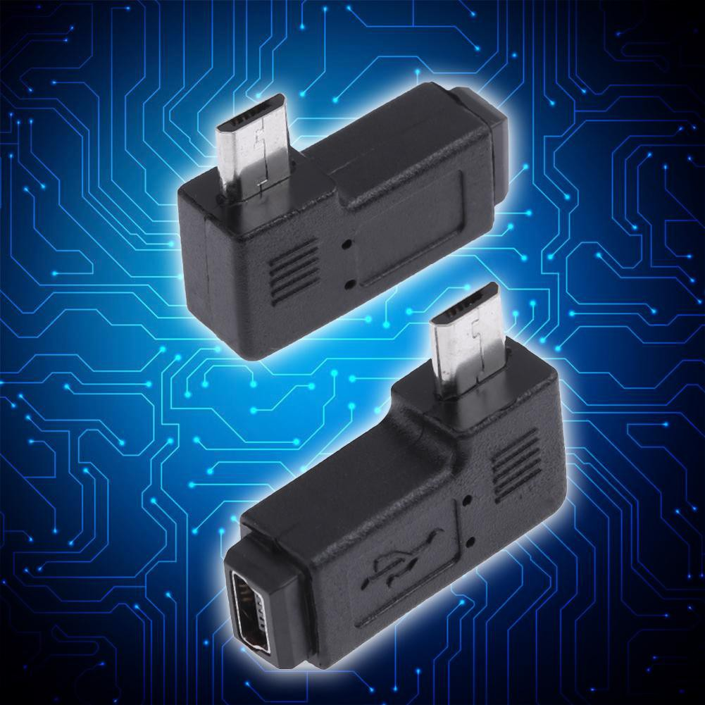Hình ảnh 2pcs 90 Degree Mini USB to Female Micro USB Male Adapter  Connector
