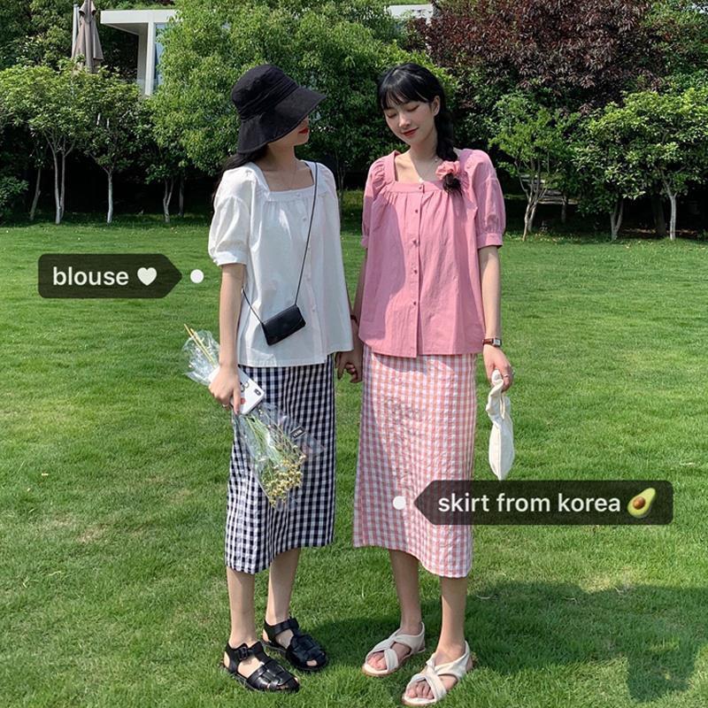 Bộ Áo Cổ Vuông + Chân Váy Lưng Cao Xinh Xắn Dành Cho Nữ 2020