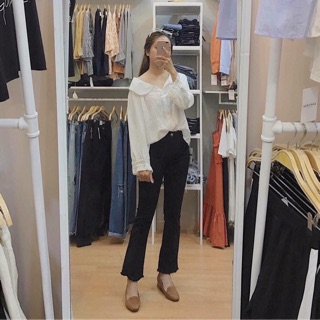 Size SML- QUẦN JEANS ĐEN ỐNG LOE