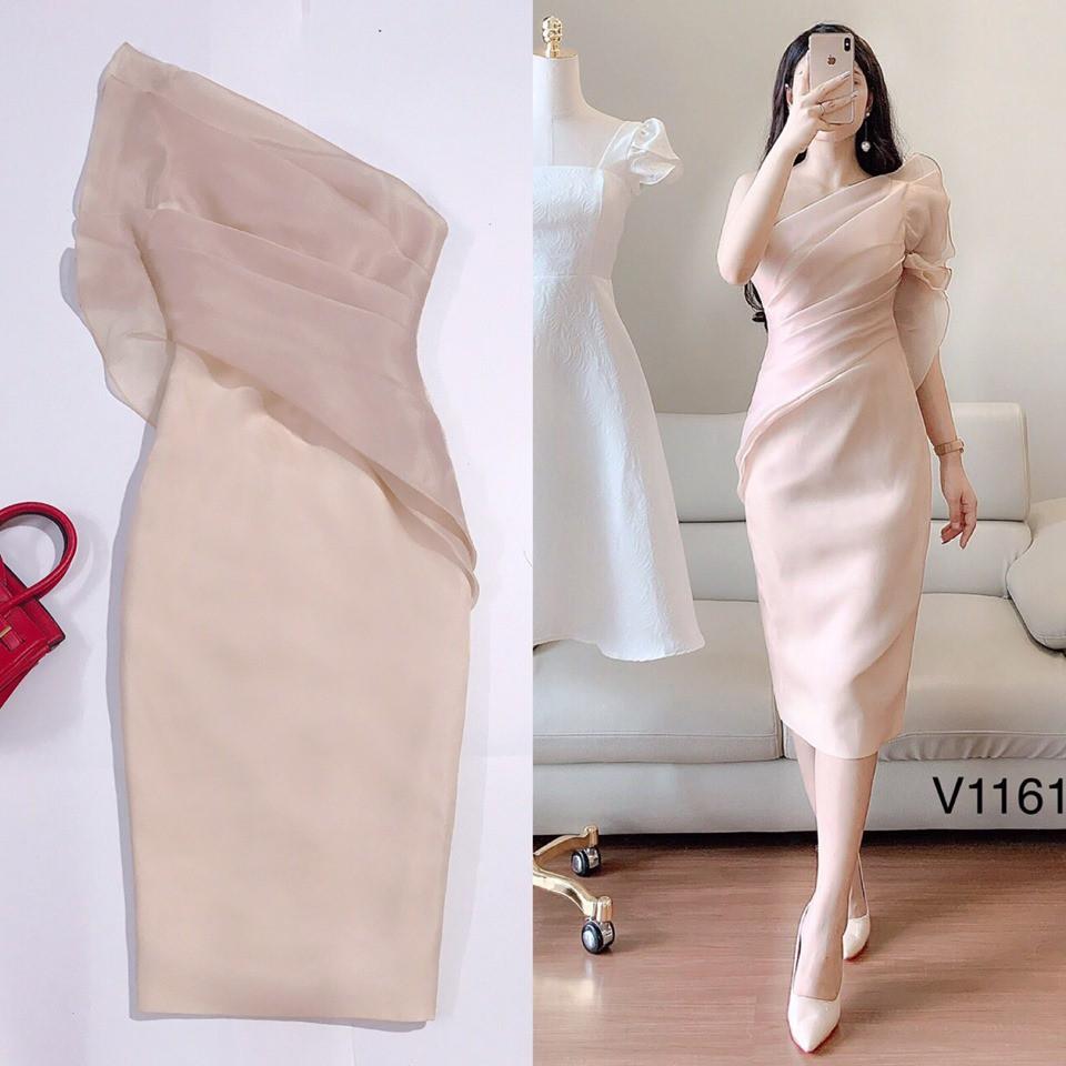 Đầm Voan thiết kế - Váy dự tiệc dáng ôm cao cấp, đầm trễ vai gợi cảm ( ảnh thật)