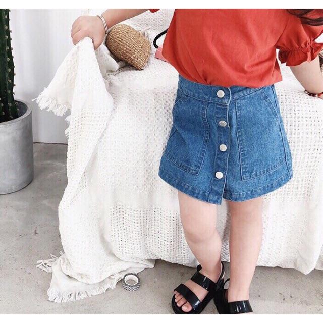 Chân váy jean cho bé