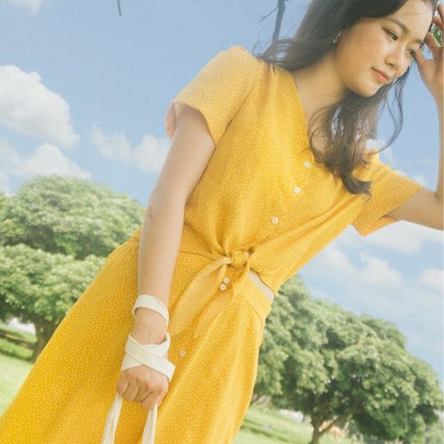 SELENE Sway Set - Bộ áo croptop váy đầm vàng be quá gối chữ A