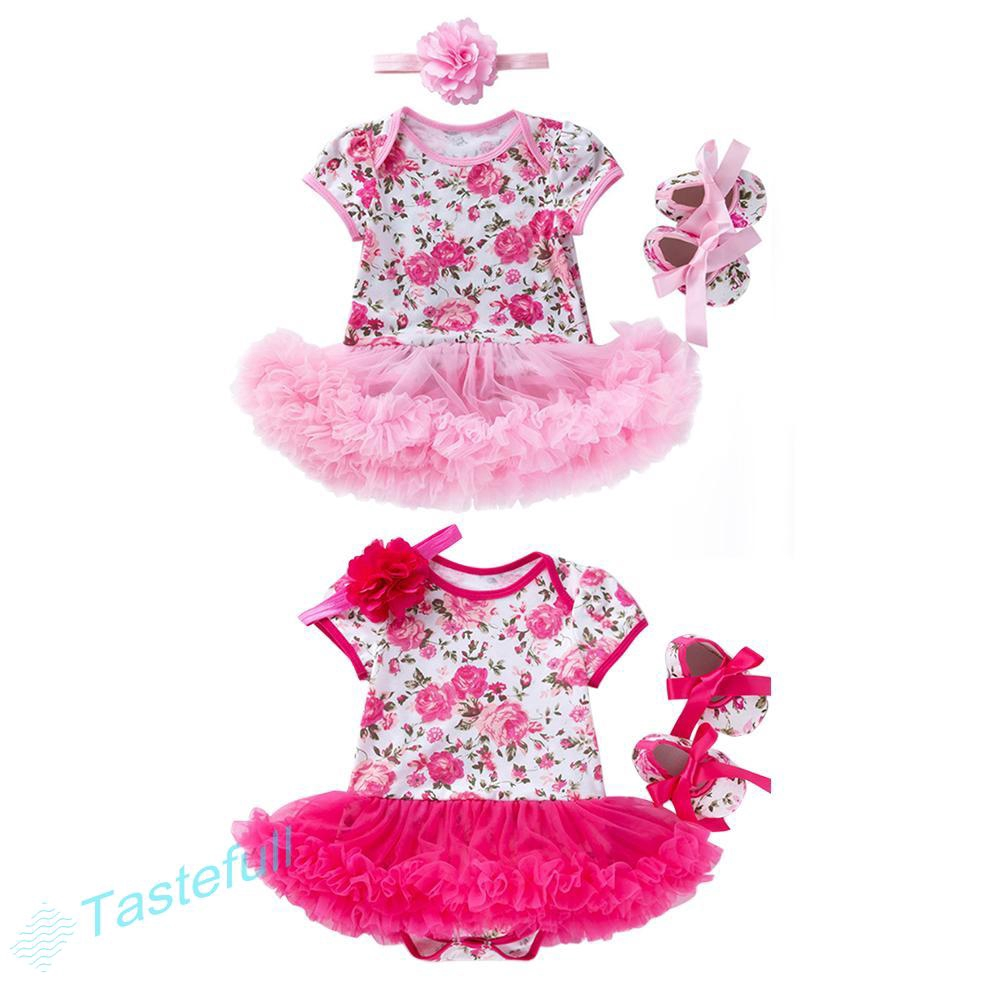 4pcs Clothes Set Mesh Baby Kids Girls Rompers Hairband Shoes for baby