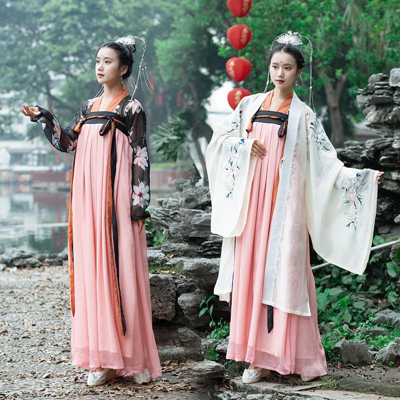 Chân Váy Lưng Cao In Họa Tiết Hoa Lily Truyền Thống Trung Quốc