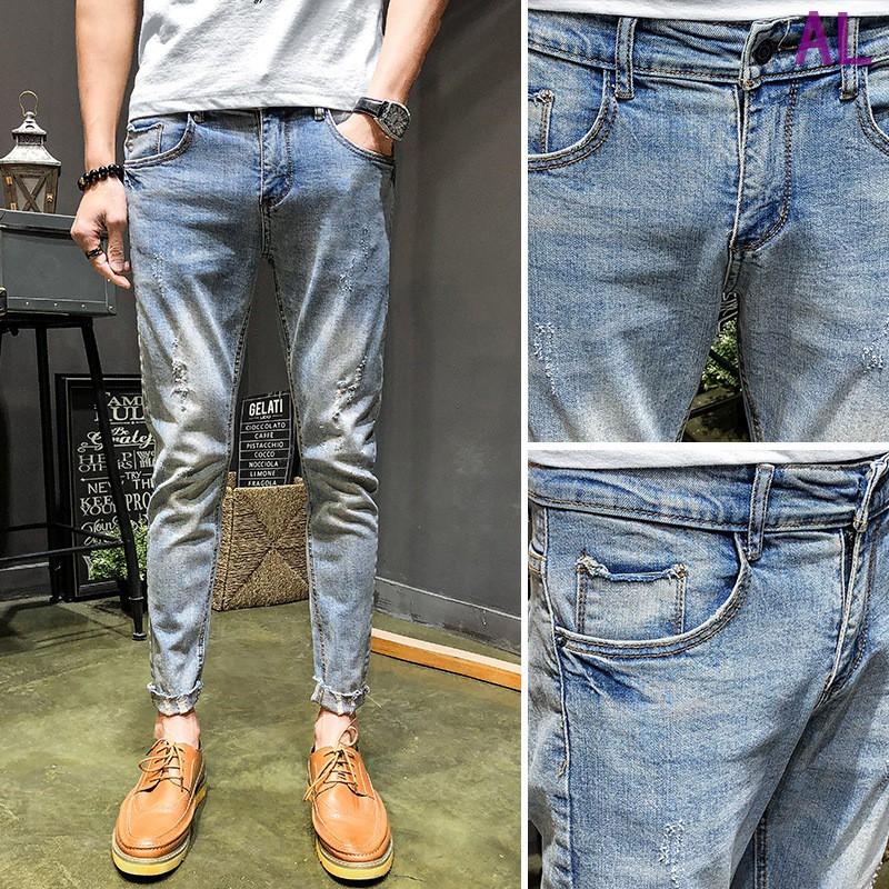 Quần Jeans Nam Co Giãn Thiết Kế Rách Gối Thời Trang