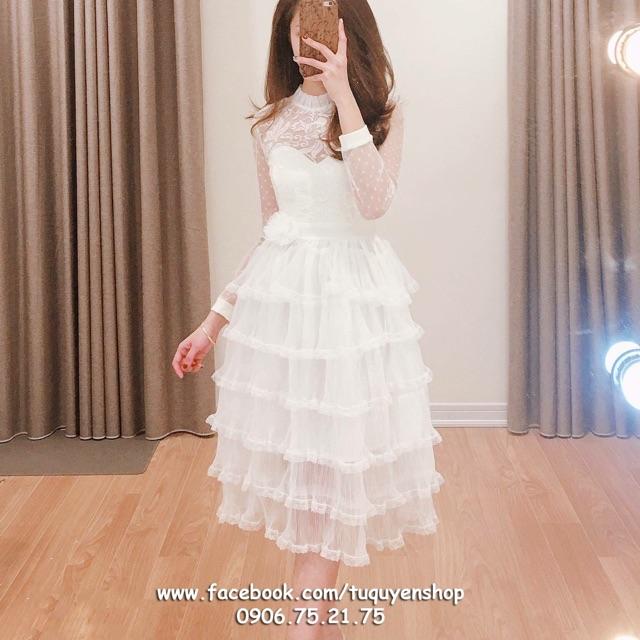 Váy ren pha lưới chấm bi bèo tầng đính hoa eo