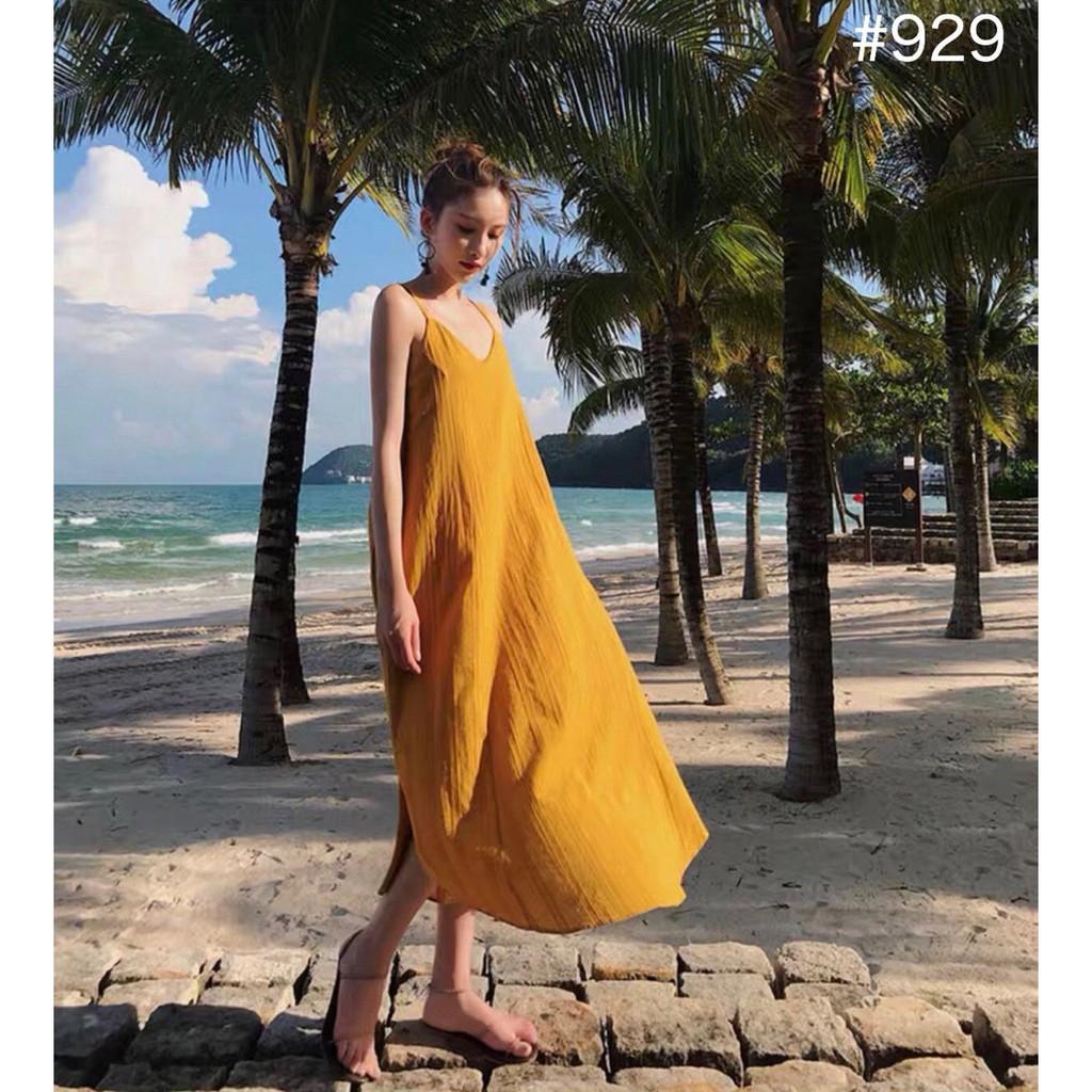 5641062410 - [HOT SALE] Váy đầm maxi vàng 2 lớp form dáng suông rộng với thiết kế đan dây nổi bật, phù hợp đi biển, du lịch