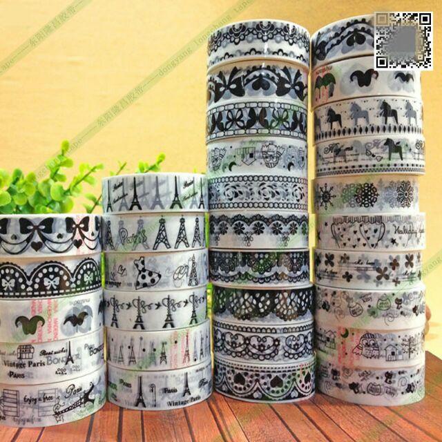 Băng dính giấy Hàn Quốc màu đen trắng 1.5cm *10m, băng dính trang trí