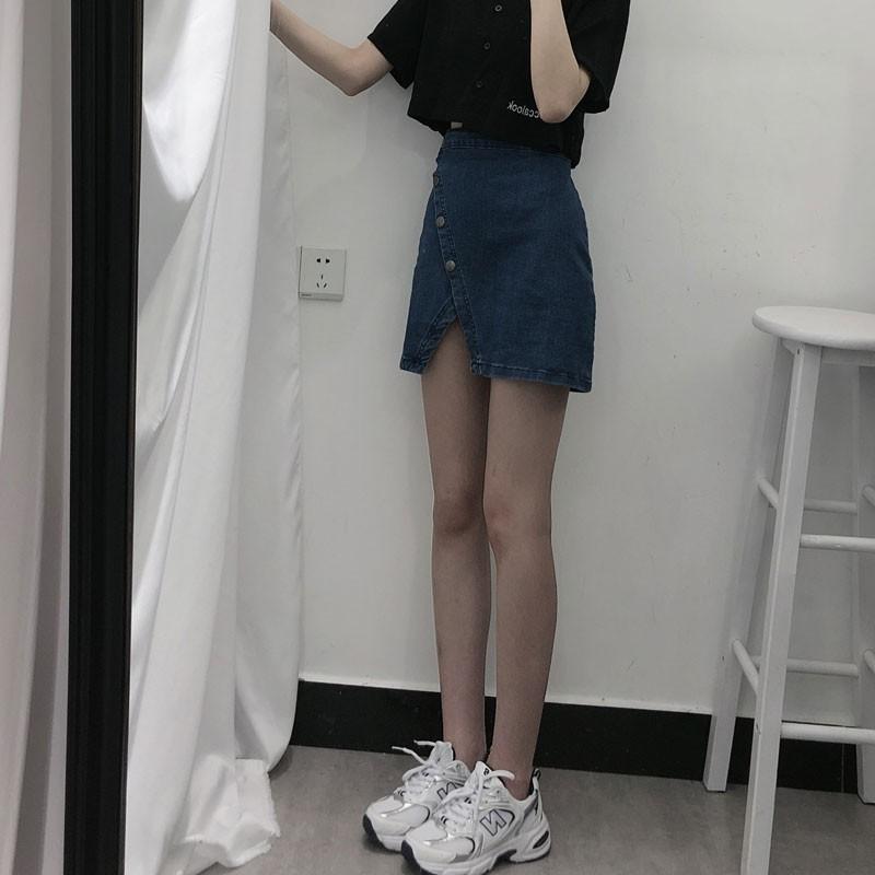 Chân Váy Denim Chữ A Lưng Cao Xinh Xắn Dành Cho Nữ 2020