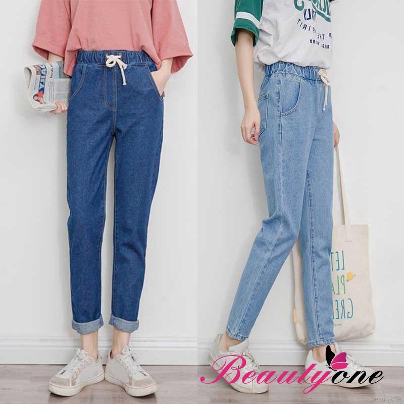 Quần jeans dài lưng cao phối dây rút xinh xắn cho nữ