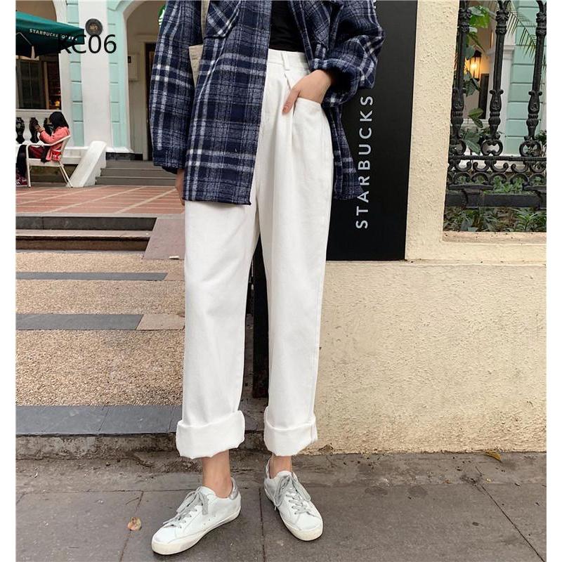 Quần jeans nữ dài lưng cao ôm chân mài rách thời trang Hàn
