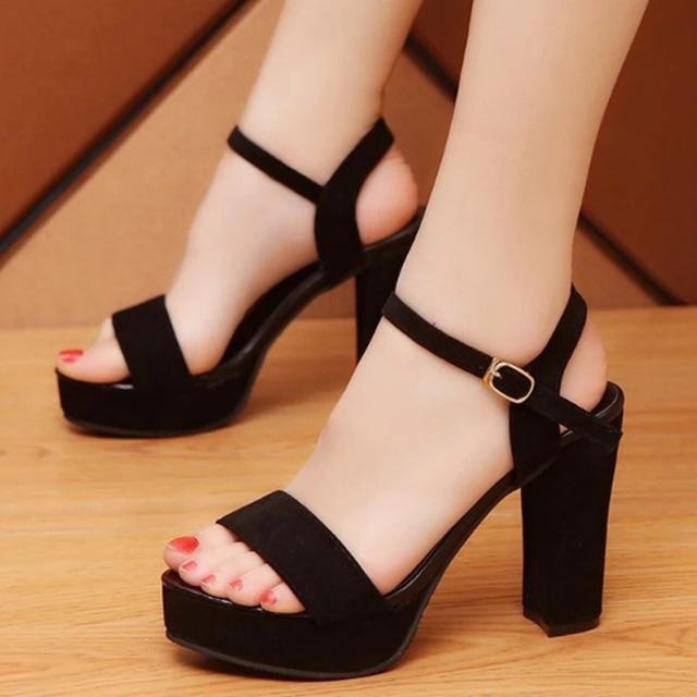 Sandal cao gót da lộn 10 phân