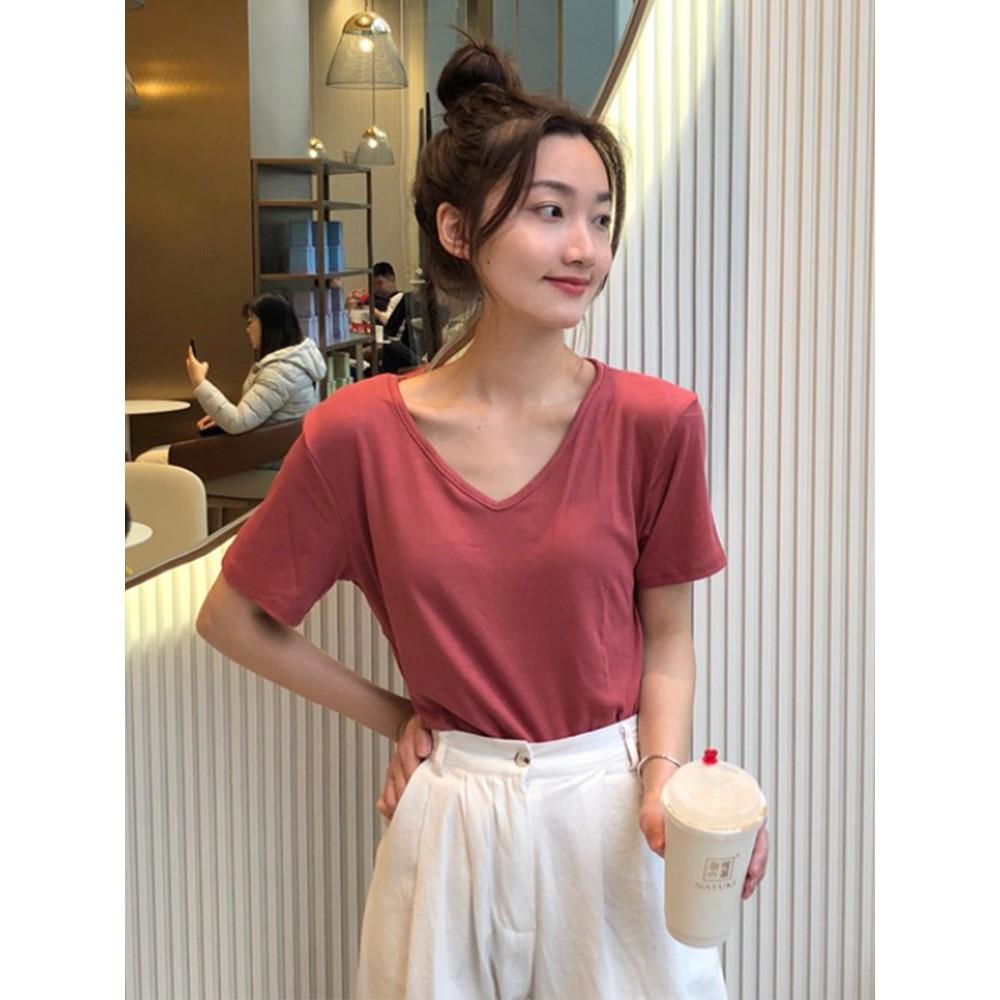 Mùa hè 2020 mới lưới đỏ giản dị hoang dã phiên bản Hàn Quốc của mẫu cơ bản là áo thun cổ chữ V mỏng tay ngắn nữ
