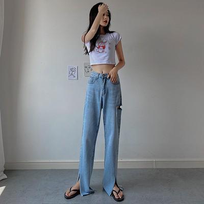 Quần Jeans Dài Lưng Cao Phối Rách Cá Tính Cho Nữ