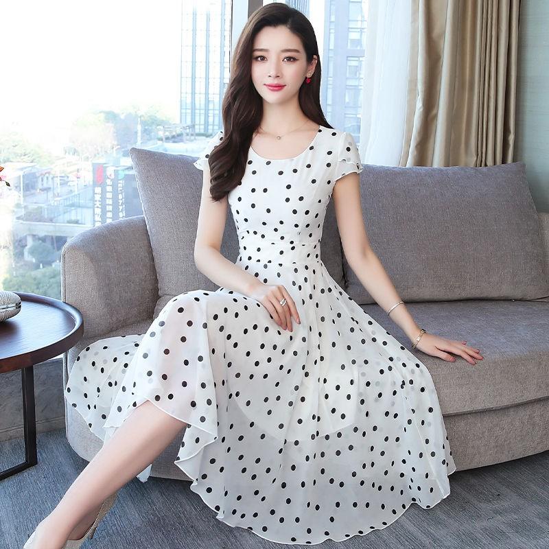 Chân Váy Voan Chữ A Với Họa Tiết Chấm Bi Xinh Xắn Dành Cho Nữ 2019