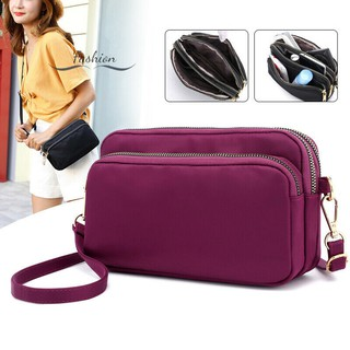 Women Waterproof Solid Color Shoulder Bag Crossbody Nylon Messenger Small Purse Simple and Durable @vn