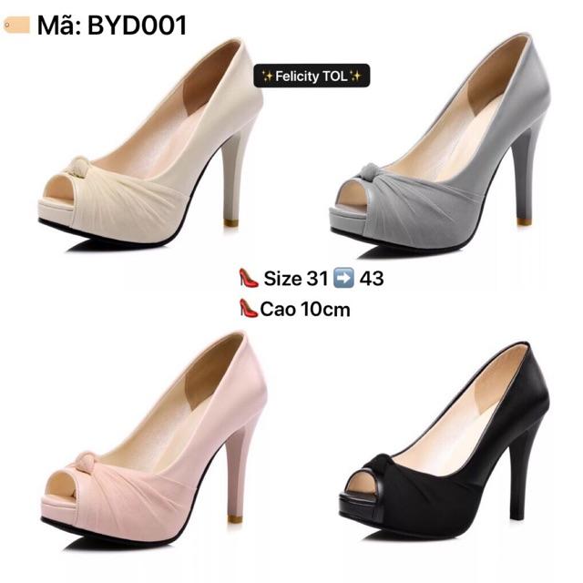 Giày size nhỏ - HÀNG ORDER - Cao gót đế đúp hở mũi size nhỏ BYD001 size 31 32 33 34