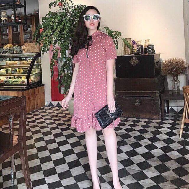 váy chấm bi cổ nơ