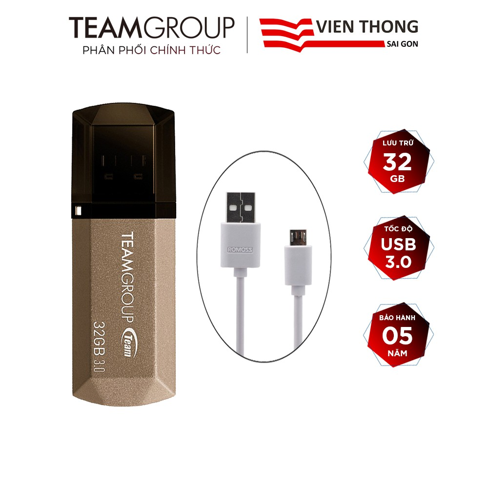 USB 3.0 Team Group C155 32GB + Cáp micro USB tròn Romoss - Hãng phân phối chính thức