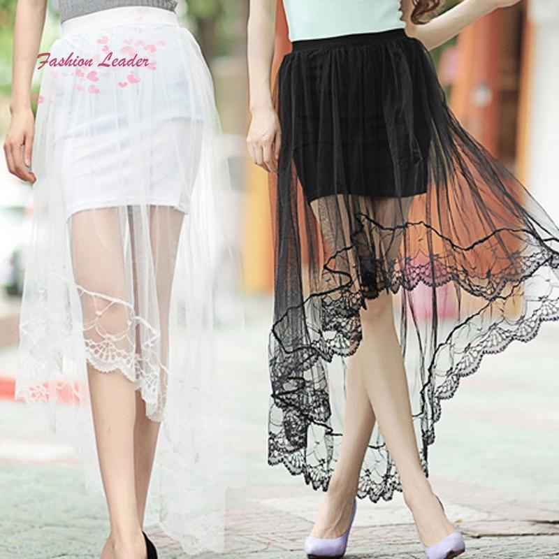 Chân váy lưng cao phối lưới phong cách Âu Mỹ cho nữ