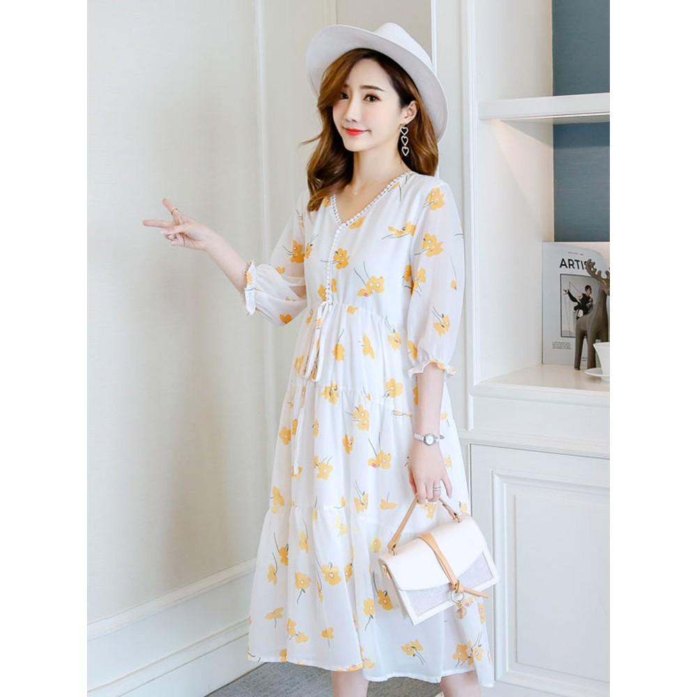 D40 Đầm bầu , váy bầu maxi tay lỡ hiện đại thích hợp cho bà mẹ dạo phố du lịch đi chơi xa