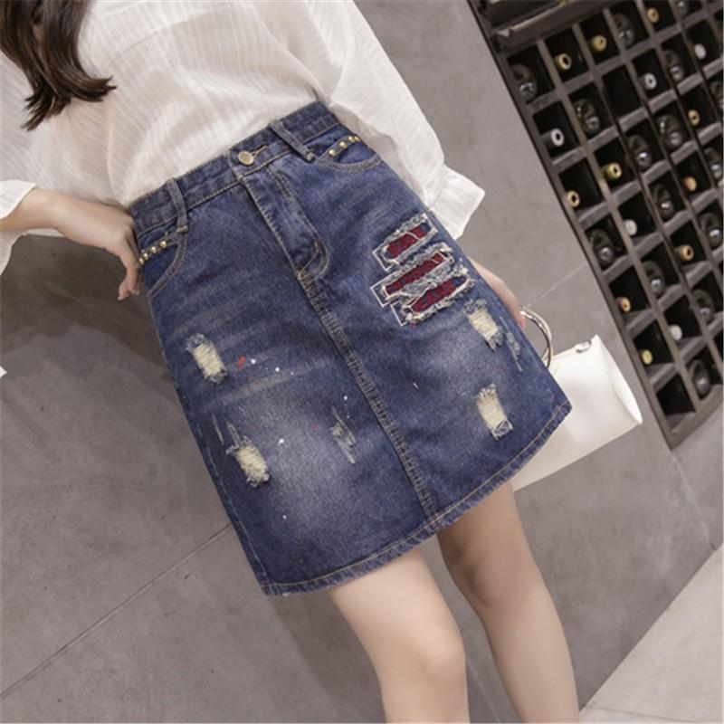 Chân Váy Jeans Lưng Cao Thêu Họa Tiết Thời Trang Cho Nữ