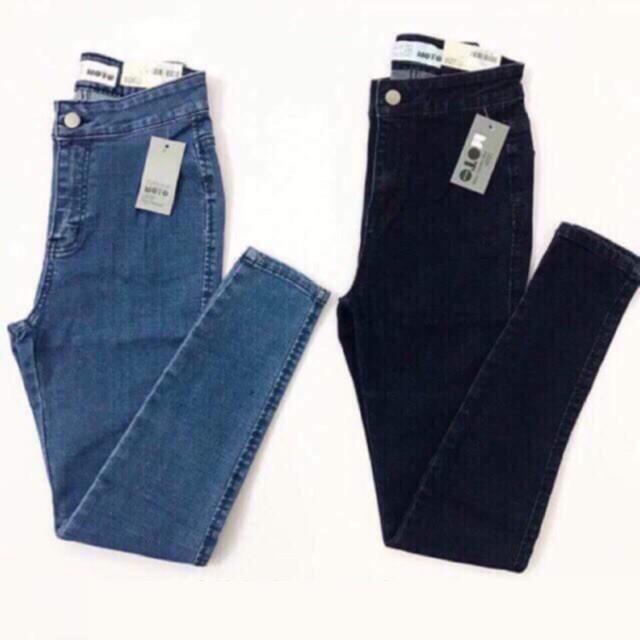 Quần jeans nữ cạp cao trên rốn siêu co giãn form dáng ôm